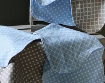 Blue & Grey Burp Cloth Set of 4