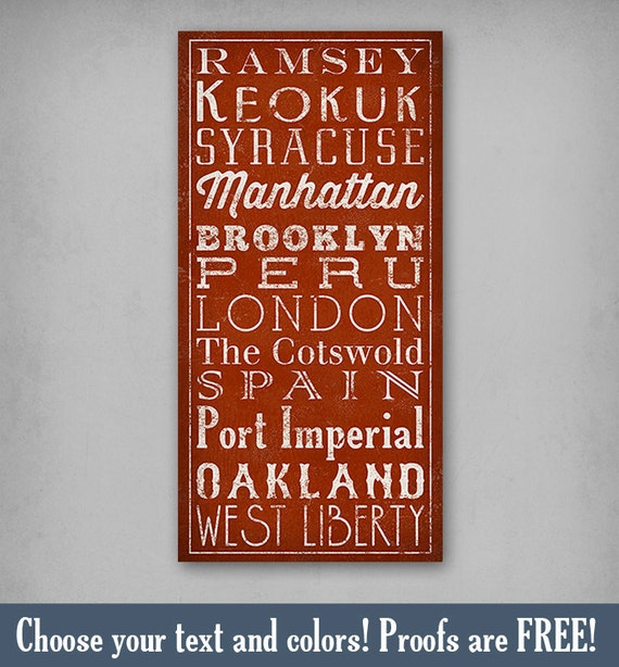 CUSTOM -  READY to HANG - Gallery Wrapped Canvas Sign Wall Art  Train Bus Subway