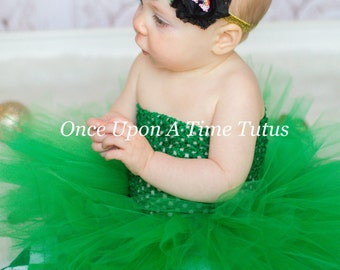 Kelly Green Tutu or Dress - Newborn Baby 3 6 9 12 18 24 Months 2T 3T 4T 5 6 7 8 - Holiday Christmas Photo Prop St Patricks Day Ready To Ship