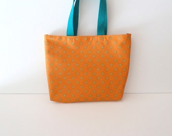 Orange/Teal Unique Gift Bag/Small Tote/Tablet Tote/Book Bag