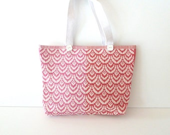 Pink Scalloped Tote Purse with White Cotton Handles - Pink Purse - White and Pink Bag