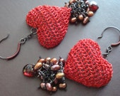 Crocheted Wire Heart Earrings 3D hollow form construction with Rhodolite Garnets Golden and Bronze Freshwater Pearls Art Hearts Dancing OOAK