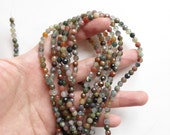 """Fancy Agate Faceted 4 mm Mini Rounds One Full 16"""" strand N825"""