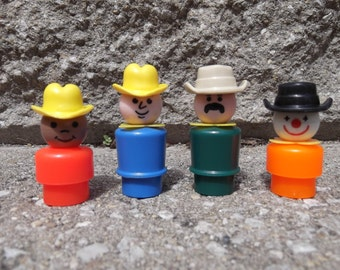 Western Collection - Vintage Fisher Price Play Family Little People Figures 4pc Lot Set - Wild West Cowboy Rodeo Clown Zookeeper Mustache