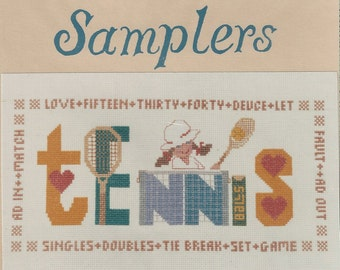"""Clearance - """"Tennis"""" Counted Cross Stitch Chart by Oberlin Samplers"""
