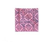 Blue on Pink Screenprint Chambray Pocket square, Silkscreen