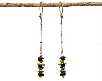 Mixed Metals Vertical Bar Earrings. Dangling Bar Earrings. Black and Gold. Gold or Sterling Silver. E-1780