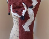 Red Fox Scarf, knit stole, faux animal fur, merino wool knit,  woodland animal wrap, cream chevron knit, faux fox stole, 1920's style