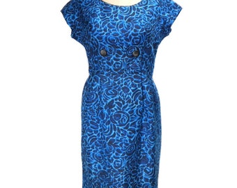 vintage 1950s silk floral dress / blue / wiggle dress / 50s dress / garden party dress / women's vintage dress / size medium