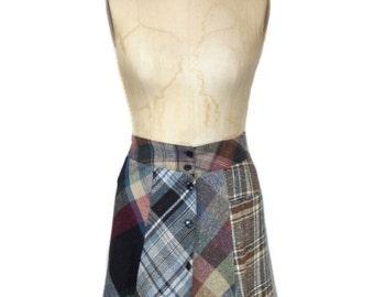 vintage 1970s plaid patchwork skirt / The Antique Boutique / multi-color multi-plaid / mini skirt / women's vintage skirt / size small