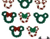 Disney MICKEY MOUSE & MINNIE MoUSE Christmas Wreaths and Candy Canes, Jesse James Licensed Buttons Or Make into Flatback Cabochons