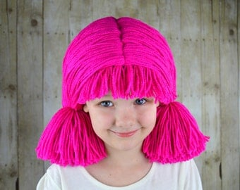 Custom Colors, Strawberry Shortcake Pigtail Wig, Baby Girl Halloween Costume Lalaloopsy Costume, Pageant