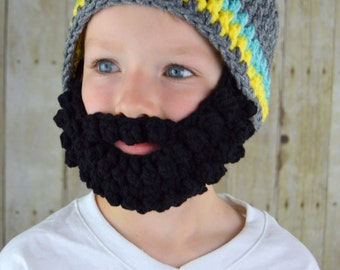 Beard Hat- Grey Blue Yellow Black- Bearded Beanie