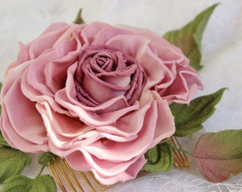 Fabric rose, pink bridal headpiece, silk rose comb, silk rose, bridal flower comb, silk roses