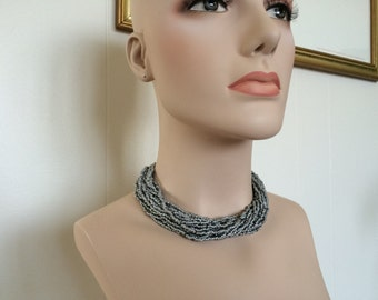 Vintage Boho Multi Strand Necklace - Gray Charcoal Beads - 20 Strands