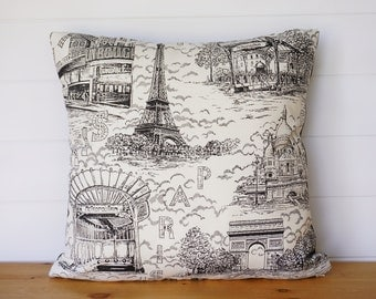 Paris Pillow Cover, Fabric FROM Paris! French Country, Eiffel Tower Pillow,  Country French Pillows, Black and White Pillows, Paris