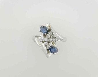 Blue Sapphire and Diamond Fashion Ring; Cocktail Ring; White Gold; Estate Sapphire and Diamond Ring
