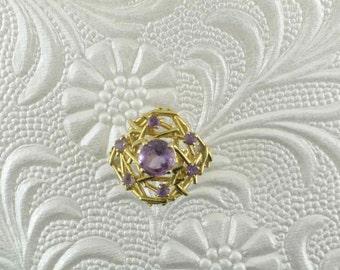"Amethyst 14 Karat Yellow Gold Fashion Ring; Amethyst Ring; Amethyst Ring in ""Nest"" design; ""Twig"" Design Ring; Hallmarked Amethyst Ring"