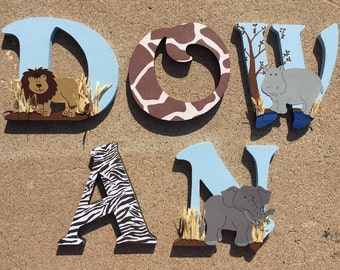 Safari Wooden Letters, Animal Wooden Letters, Safari Nursery Decor, Safari Nursery, Baby Nursery Safari, Safari Letters, Safari Initials