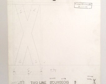 Letter cap X, industrial drawing, original font casting drawing, typographic drawing. Select 1 drawing. 1932/1911. Valentine's gift.