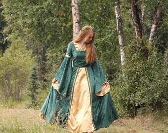 Medieval Velvet Gown Costume with Petticoat, Made to Order, Choose Your Colors, Misses' Size 6-8-10-12
