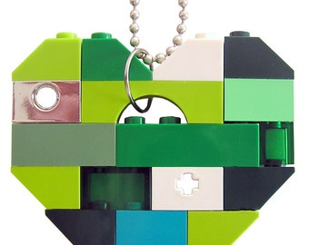 "Irish Saint Patrick's Day Green necklace - Chunky heart pendant - made from LEGO (R) bricks on a 24"" Silver/Gold plated ballchain"