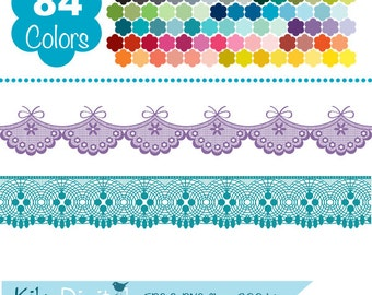Lace Borders, Colorful Lace Borders, Rainbow Lace Borders Clip Art, Huge Clipart Pack - Vector Flags Clipart