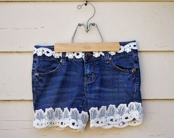 Upcycled Denim Shorts Vintage Leaf Lace Scalloped Trim with Pearls Ecofriendly