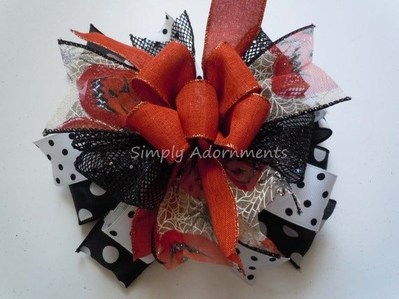 Jack O' Lantern Funky Halloween Bow Halloween Lantern Bow Black Orange Halloween Door Hanger Decor Orange Black Jack O' Lantern Gift Bow