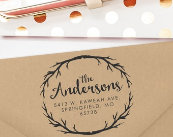 Custom Return Address Stamp, Wedding Gift, Return Address Stamp Self Ink, Branches, Circle Stamp, Trees, Housewarming Gift, Halloween (T268)