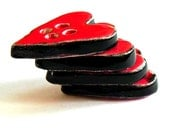 Valentine's Day Ceramic Heart Buttons, Small, 4 Pieces, Red and Black