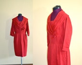 1950s Vintage Mr Simon Rust Red Hourglass Cocktail Dress size 18 ( M L XL) bust 40