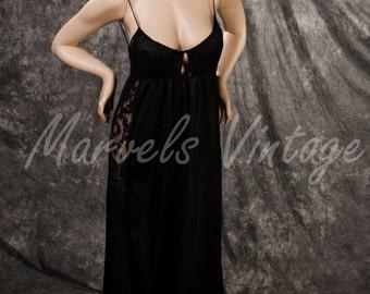 Vintage Gossard Artemis Lingerie Long Nightgown Black Lace Sides Size Medium