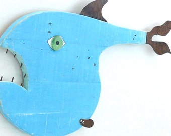 The COD Father #5 Reclaimed wood fish, blue funky fish, whimsical fish art, wall art
