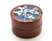 Chinese Lacquer Porcelain Shard Box, Porcelain Fragment Lid, Hand-Painted Oriental Trinket Box, Blue & White Vintage Asian Shard Box
