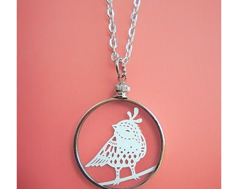 Papercut Bird Necklace- Original Handcut Paper in Glass Pendants with Silver Chain