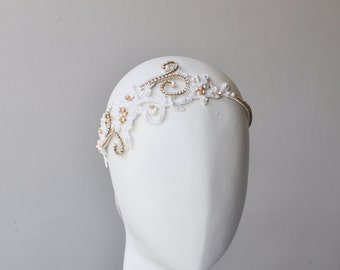Lace Bridal Headpiece, Gold Crystal Wedding Headband, Bridal Headpiece with Beaded Lace and Rhinestones, Unique Bridal Accessories, Quality