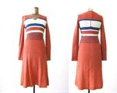 70s dress / long sleeve knit dress / vintage striped dress