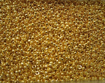RR-191, Miyuki Rocaille Beads, Size 15/0, Opaque 24kt Gold Finished - Available in 2g, 5g, 7.5g & 10g Pkgs and also in Larger Pkgs