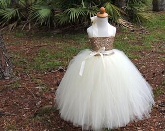 Champagne Sequin Tutu Dress, Sequin Flower Girl Dress, Sequin Tutu Dress, Birthday Tutu Dress, Sequin Tutu Skirt