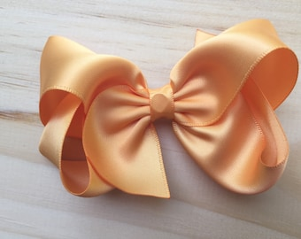 Gold satin hair bow - 4 inch gold bow, boutique bows, girls hair bows, hair clips, toddler bows, satin bows, girls bows, christmas bows