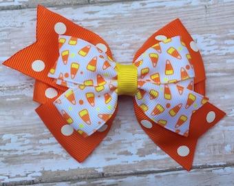 4 inch double pinwheel Halloween hair bow - Halloween bow, candy corn bow
