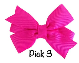 You pick 3 classic hair bows - 3 inch hair bows, 3 inch bows, classic hair bows