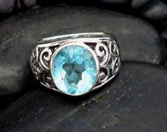 Beautiful Scoll Design Tapered Band & Faceted Oval Blue Topaz Sterling Silver .925 Ring - Large Oval Stone - Beautiful Ocean Blue Color