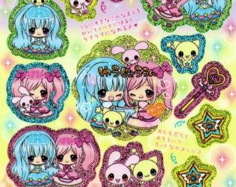 Kawaii Japan Sticker Sheet Assort Tsuchiya Holographic SPELL PRINCESS Cute Magic Stars Character Pastel Lolita  Girly Rabbit Character R