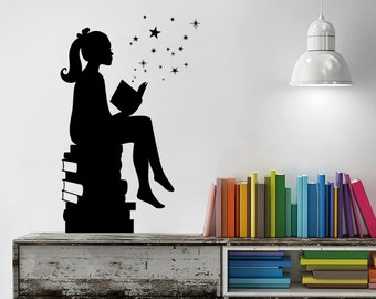 Girl Reading Books Magic - Wall Decal Vinyl Art Stickers for Interiors, Schools, Classrooms, Libraries, and Bedrooms