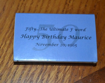 25 Custom Matchbox Birthday Favors/Birthday Favor/Birthday Age Favor/Favor/Matchbox Favor - 50 Birthday Favors
