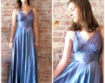 1930s Satin Dress - Quilted Detail - Formal - Bolero Jacket - Ombre - Long -
