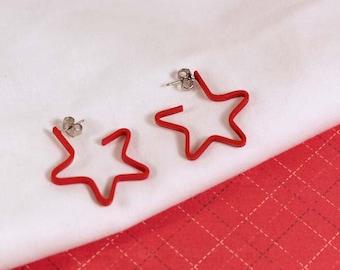 Avon Red Shining Star Hoops Pierced Earrings - Vintage 1992