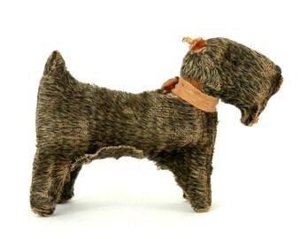 Antique Scottish Terrier Brindle Dog Mechanical Squeak Toy Occupied Japan
